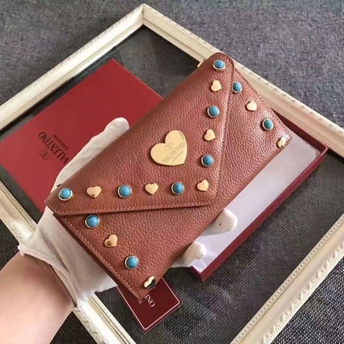 2016 New Valentino Heart Studded Continental Wallet for Women