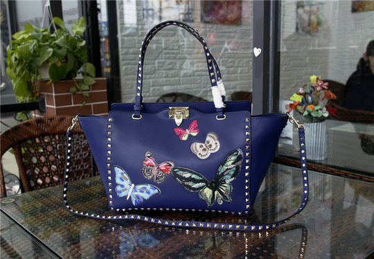 2016 A/W Valentino Rockstud Tote Bag Blue with multicoloured butterfly embroidery