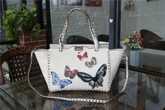 2016 A/W Valentino Rockstud Tote Bag White with multicoloured butterfly embroidery
