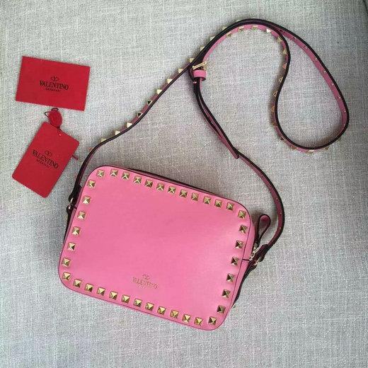 036d94cba 2016 S/S Valentino Garavani Rockstud Camera Crossbody Bag in Pink Leather  larger image
