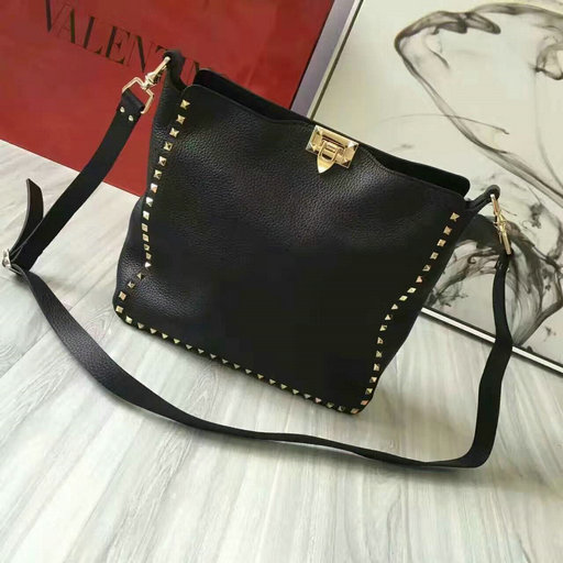 2016 Fall/Winter Valentino Rockstud Hobo Bag in Black Leather