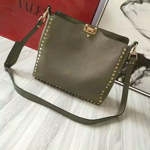 2016 Fall/Winter Valentino Rockstud Hobo Bag in Grey Leather
