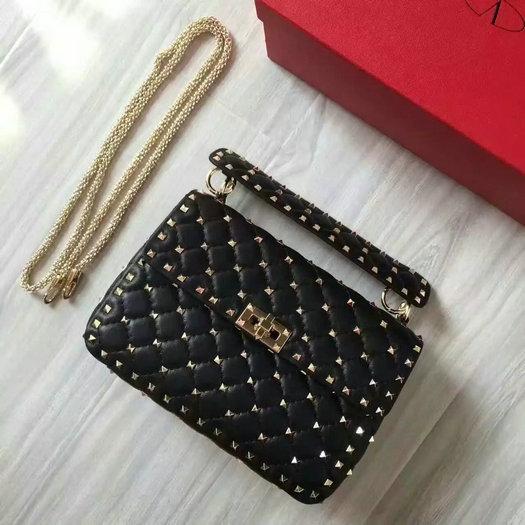 80f50aff76c 2016 F W Valentino Garavani Rockstud Spike Medium Bag in Black Leather  larger image