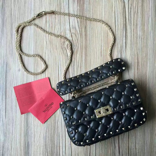 2016 F/W Valentino Garavani Rockstud Spike Small Bag in Black Leather