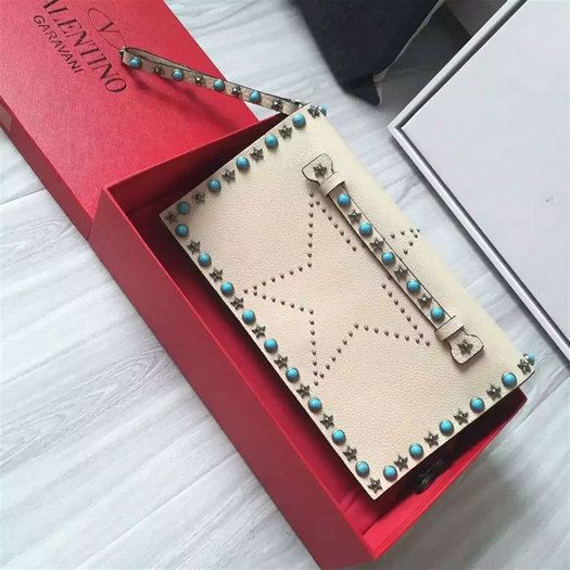 2016 A/W Valentino Garavani Starstudded Clutch in ivory leather with studs and turquoise stones