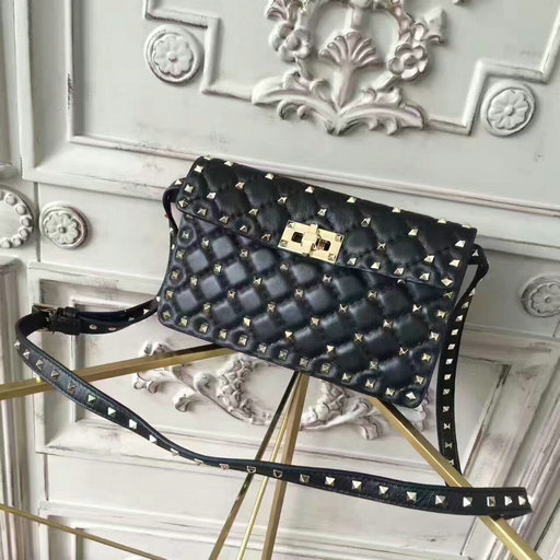 2017 New Valentino Garavani Rockstud Small Shoulder Bag in black lambskin leather