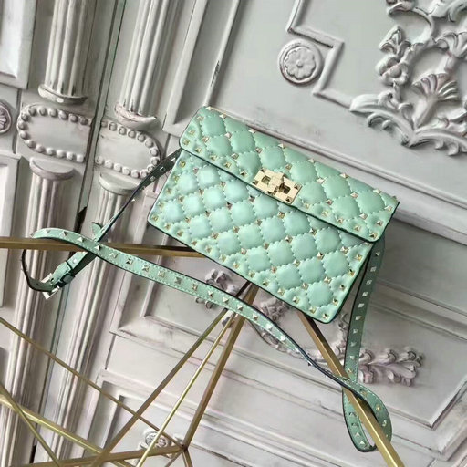 2017 New Valentino Garavani Rockstud Small Shoulder Bag in light green lambskin leather