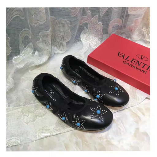 2017 Spring Valentino Rockstud Star Studded Ballet Ballerina Flats in Black Nappa Leather