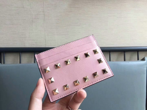 2017 Fall/Winter Valentino Garavani Rockstud Credit Card Holder in pink calfskin leather