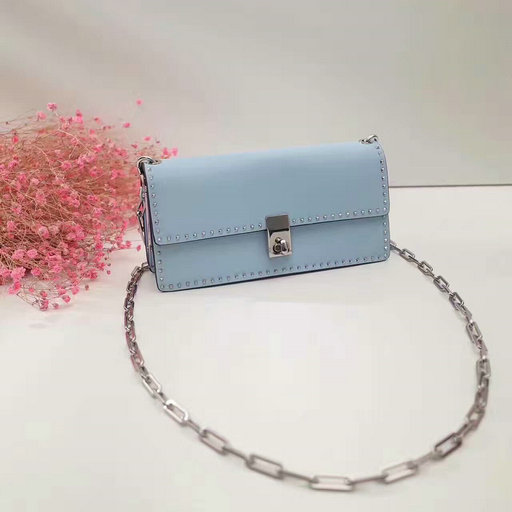 2017 F/W Valentino Garavani Chain Cross Body Bag in Light Blue Calfskin Leather