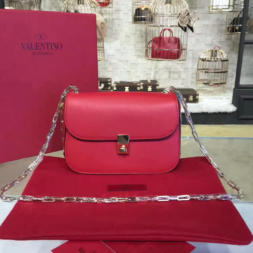 2017 S/S Valentino Chain Cross Body Bag in Red Calfskin Leather