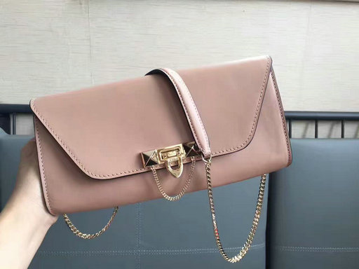 2017 New Valentino Garavani Demilune Clutch Bag in Calf Leather