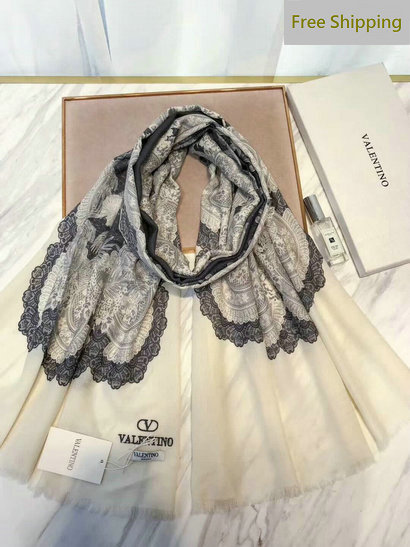 2017 Valentino Floral Lace Print Cashmere Scarf for Women