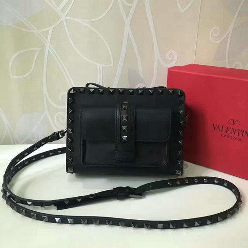 ffe1fe0cbe3 2017 Spring Valentino Garavani Mini Guitar Rockstud Rolling Black Cross  Body Bag larger image