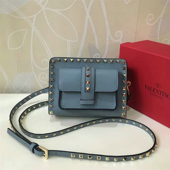 2017 Spring Valentino Garavani Mini Guitar Rockstud Rolling Cross Body Bag