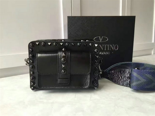2017 Spring Valentino Garavani Mini Guitar Rockstud Rolling Noir Cross Body Bag