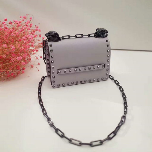 2017 F/W Valentino Small Rockstud Panther Chain Shoulder Bag in Grey Leather
