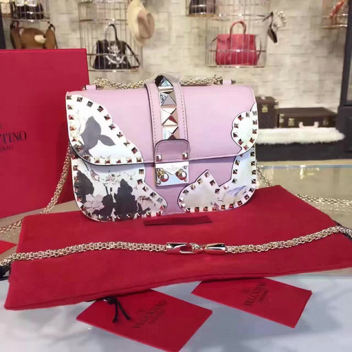 2017 S/S Valentino Small Rockstud Floral Printed Chain Cross Body Bag Pink