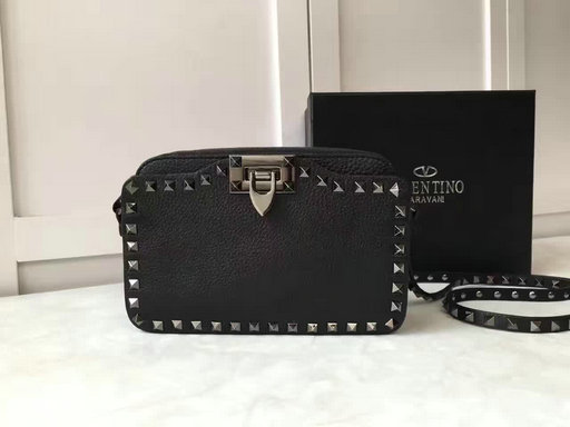 Iconic Valentino Rockstud Small Cross Body Bag in Grained Calf Letaher