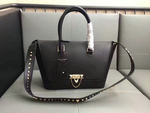 2017 F/W Valentino Demilune Small Double Handle Bag in Black Leather