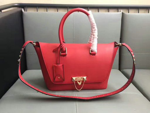 2017 F/W Valentino Demilune Small Double Handle Bag in Red Leather