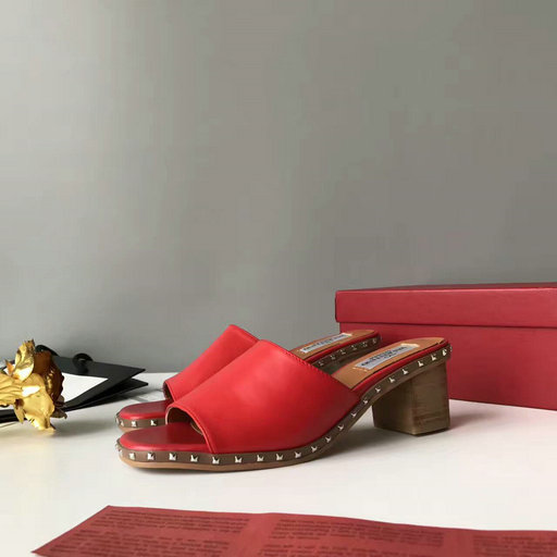 2017 Summer Valentino Soul Rockstud 50mm Sandal Red with micro studs on the sole