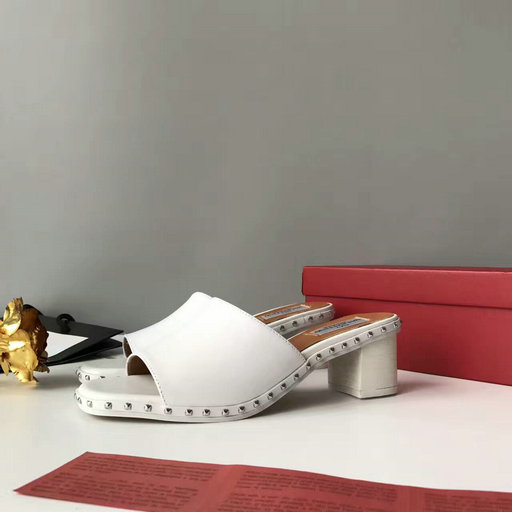 2017 Summer Valentino Soul Rockstud 50mm Sandal White with micro studs on the sole