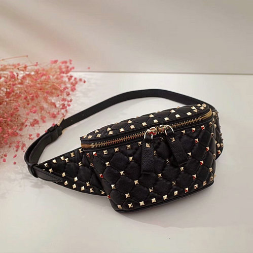 8bb2bd4d17 2017 Fall/Winter Valentino Free Rockstud Spike Belt Bag in black lambskin  leather larger image