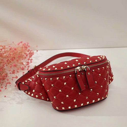 2017 Fall/Winter Valentino Free Rockstud Spike Belt Bag in red lambskin leather