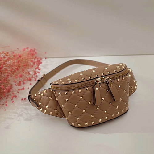 2017 Fall/Winter Valentino Free Rockstud Spike Belt Bag in tan lambskin leather