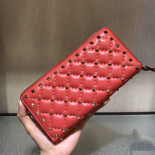 2017 F/W Valentino Rockstud Spike Zip Continental Wallet in red lambskin leather