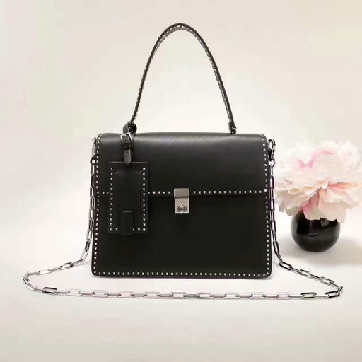 2017 F/W Valentino Stud Stitching Single Handle Bag in Black Leather