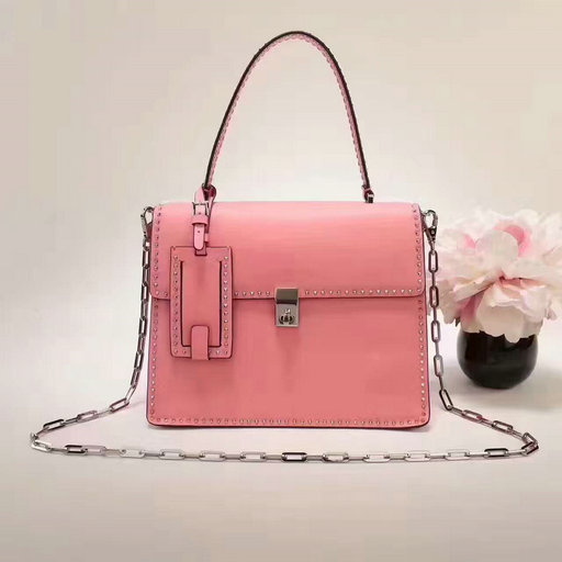 2017 F/W Valentino Stud Stitching Single Handle Bag in Pink Leather