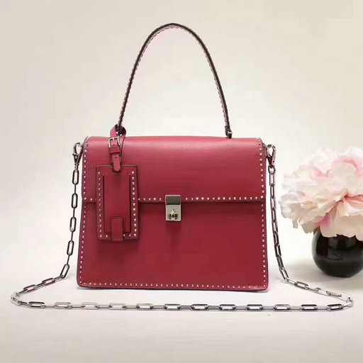 2017 F/W Valentino Stud Stitching Single Handle Bag in Dark Red Leather