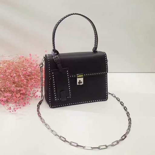2017 F/W Valentino Small Stud Stitching Single Handle Bag in Black Leather