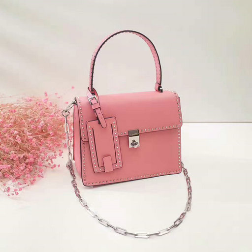 2017 F/W Valentino Small Stud Stitching Single Handle Bag in Pink Leather