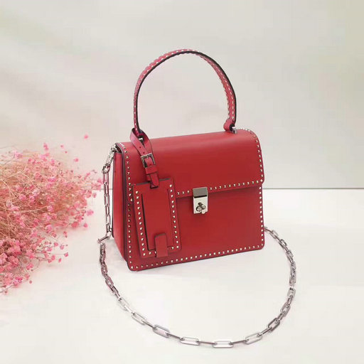 2017 F/W Valentino Small Stud Stitching Single Handle Bag in Red Leather