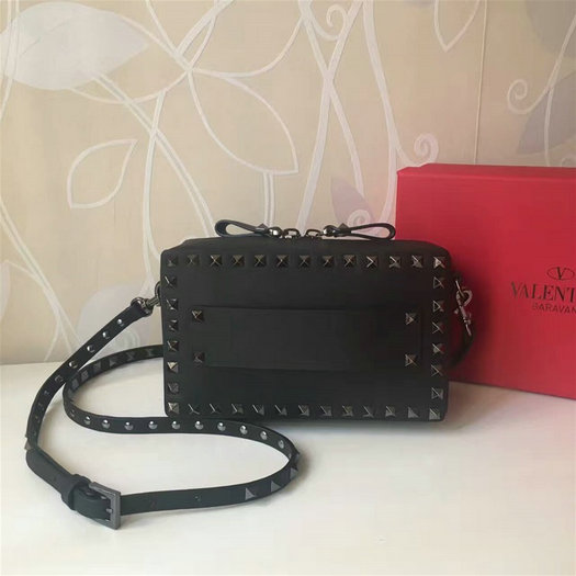 2017 S/S Valentino Small Guitar Rockstud Rolling Crossbody Bag Black