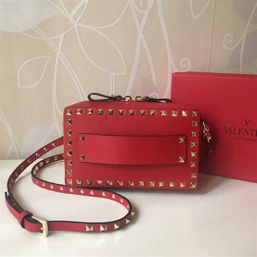 2017 S/S Valentino Small Guitar Rockstud Rolling Crossbody Bag Red