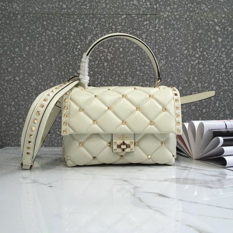 2018 S/S Valentino Candystud Single Handle Bag in white lambskin leather