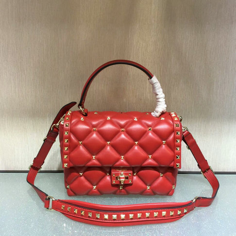 090ad50349e3c 2018 S/S Valentino Candystud Single Handle Bag in Red lambskin leather  larger image