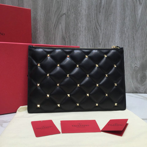2018 New Valentino Candystud Clutch Pouch Bag in Black Leather