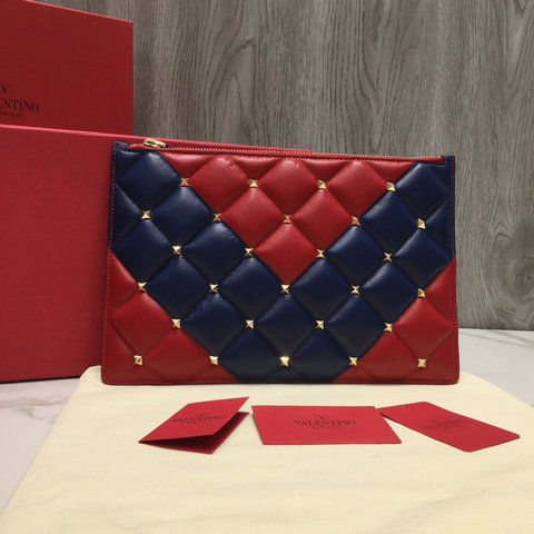 2018 New Valentino Candystud Clutch Pouch Bag in Red/Blue Leather