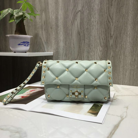 2018 Fall/Winter Valentino Candystud Clutch Bag in Light Green Quilted Leather