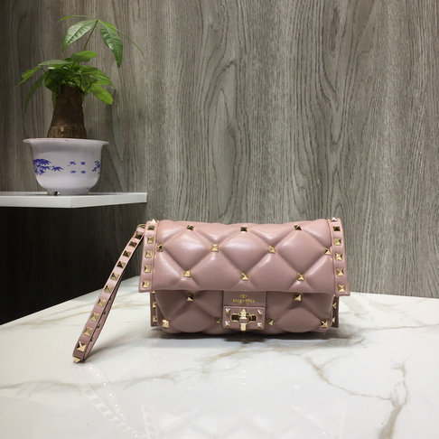 2018 Fall/Winter Valentino Candystud Clutch Bag in Nude Pink Quilted Leather