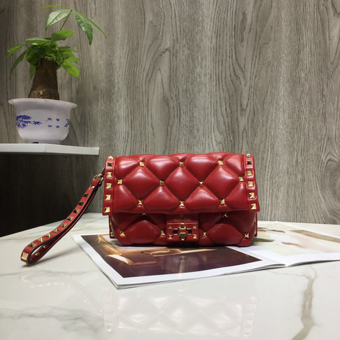 2018 Fall/Winter Valentino Candystud Clutch Bag in Red Quilted Leather