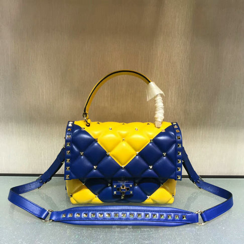 "2018 S/S Valentino ""V"" Intarsia Candystud Single Handle Bag in Bicolor lambskin leather"