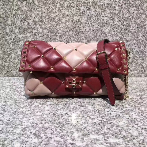 2018 S/S Valentino Candystud Shoulder Bag in pink/burgundy soft lambskin leather