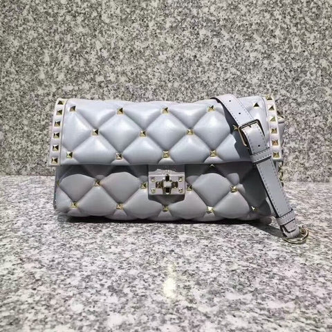 2018 S/S Valentino Candystud Shoulder Bag in grey soft lambskin leather
