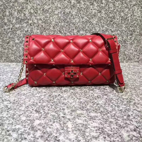 2018 S/S Valentino Candystud Shoulder Bag in red soft lambskin leather